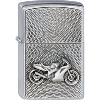 Zippo Unisex Adult Motor Bike Emblem Chrome Windproof Lighter