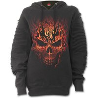 Skulll Blast Premuim Biker Fashion Women's Small Hoodie - Black