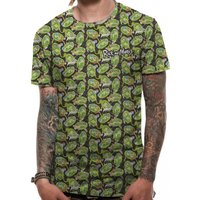 Rick And Morty - Repeat Pattern Sublimated Men's Large T-Shirt - Green