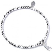 Initial K Charm With Sterling Silver Ball Bead Bracelet