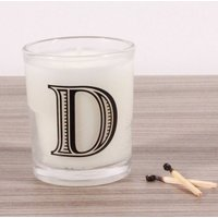 D Alphabet Candle in Votive Glass