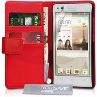 YouSave Accessories Huawei Ascend G6 Leather-Effect Wallet Case - Red