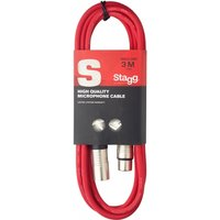 Stagg SMC3CRD High Quality Microphone Cable XLR-XLR Plug 3m Red