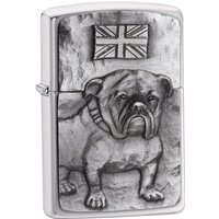 Zippo Bulldog Emblem Brushed Chrome Windproof Lighter