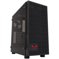 Riotoro CR500 Gaming Case with Window, ATX, No PSU, Tempered Glass, 2 x 12cm Fans, Black