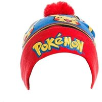 Pokemon Unisex Embroidered Pikachu with Red Pom-Pom Cuffless Beanie