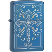 Zippo Elegant Cross Design High Polish Blue Finish Windproof Lighter