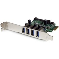 4 Port PCI Express PCIe SuperSpeed USB 3.0 Controller Card Adapter with SATA Power - Low Profile