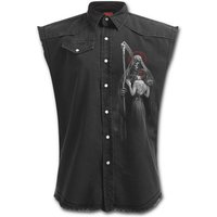 Dead Kiss Men's Large Sleeveless Stone Washed Worker Shirt - Black
