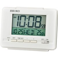 Seiko QHL078W LCD Alarm Clock with Calendar and Thermometer White