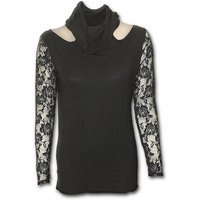 Gothic Elegance Lace Sleeve Cowl Neck Women's Large Long Sleeve Top - Black