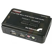 StarTech 2 Port Black USB KVM Switch Kit with Audio and Cables