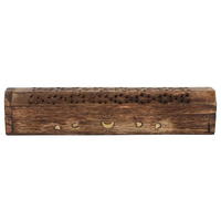 Mango Wood Incense Box with Brass Moon & Star Inlay Pack Of 4