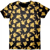 Pokemon Pikachu All-Over Print Small T-Shirt - Black/Yellow