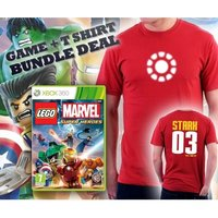Lego Marvel Super Heroes Game + Iron Man Arc Reactor Double Sided Red T-Shirt Large