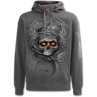 Roots of Hell Men's Large Hoodie - Charcoal Grey