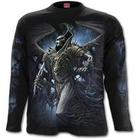 Winged Skelton Men's Medium Long Sleeve T-Shirt - Black