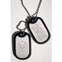 Watch Dogs Fox Wanted Silver Dog Tags