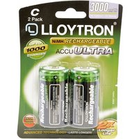 Rechargeable C Ni-MH Batteries 3000mAh 2 Pack