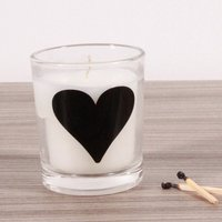 Heart (Black) Alphabet Candle in Votive Glass
