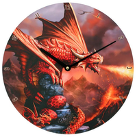 Fire Dragon Wall Clock by Anne Stokes