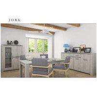 Salle à manger complète jork gris cérusé - vitrine: sans. Salle à manger complète JORK comprend : - Une table extensible ( L x H x P ) : 90 x 78
