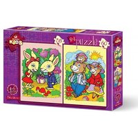 Art Puzzle 2 Puzzles - The Rabbits and The Bear Family 35 Teile Puzzle Art-Puzzle-4498