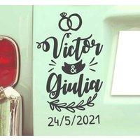 Tenvinilo ES|Pegatina personalizada para bodas coche nombre y fecha