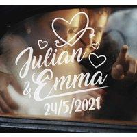 Tenvinilo ES|Pegatina para bodas coche boda corazones nombre y fecha