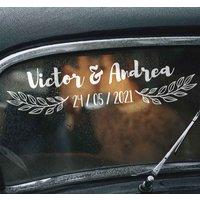 Tenvinilo ES|Pegatina para bodas decoracion coche boda nombre y fecha