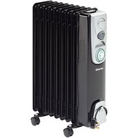 Clarke Clarke 2kW 9 Fin Black Oil Filled Radiator with Timer