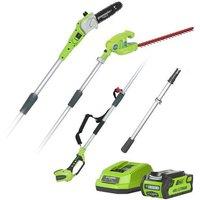 Greenworks Greenworks G40PSHK2 40V Cordless Long Reach Hedge Trimmer and Pruner Kit