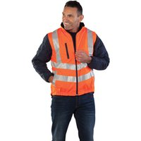 Aqua Aqua Rip Stop Reversible Body Warmer Large Hi-Vis