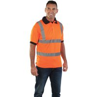 Aqua High Visibility Orange Polo Shirt Medium