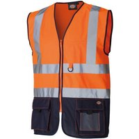 Click to view product details and reviews for Dickies Dickies Hi Vis Two Tone Technical Waistcoat Orange Navy.