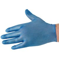 National Abrasives Box Of 100 Blue Vinyl Non Sterile Lightly Powdered Disposable Gloves (Medium)