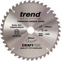 Trend Trend CSB CC26042 Crosscut Craft Saw Blade 260x30mm 42T