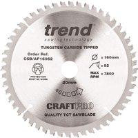 Trend Trend CSB/AP16052 160mm Diameter x 20mm Bore Circular Saw Blade