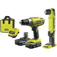 Ryobi One+ Ryobi One+ 18V Combi And Angle Drill With 2x Lithium Batteries And Fast Charger