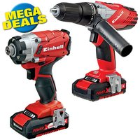 Einhell Power X Change Einhell Power X Change 18 V Li Ion Combi Impact Driver Twin Pack with 2x2 0Ah Batteries