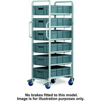 Machine Mart Xtra Topstore 6 Tier Euro Container Tray Trolley with 6 30 Litre Containers