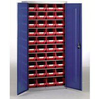 Machine Mart Xtra Barton Topstore Container Cabinet with 40 x TC3 Red Containers
