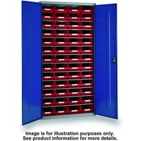 Barton Storage Topstore 013058 6 Shelf Cabinet with 52 TC4 Red Containers