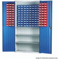 Barton Storage Barton 013086 Louvre Panel Cabinet with TC1 and TC3 Containers and 3 Shelves (Red and Blue)