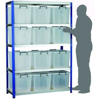 Machine Mart Xtra Barton Storage Eco-Rax Shelving Unit With Twelve 40 Litre Storemaster Containers
