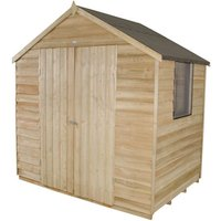 Click to view product details and reviews for Forest Forest 7x5ft Apex Overlap Pressure Treated Double Door Shed Assembled.