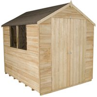 Forest Forest 6x8ft Apex Overlap Pressure Treated Double Door Shed Assembled