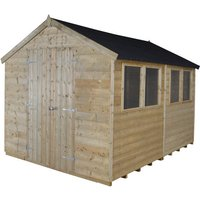 Forest Forest 8x10ft Apex Pressure Treated Shiplap Double Door Shed Assembled