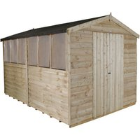 Forest Forest 8x12ft Apex Overlap Pressure Treated Double Door Shed (Assembled)