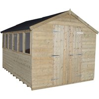 Forest Forest 8x12ft Apex Pressure Treated Shiplap Double Door Shed Assembled